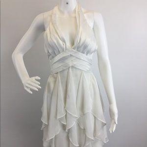 Sharon white ruffled dress (B-31)